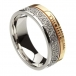 Ogham Trinity Knot Faith Ring - White & Yellow Gold