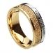Ogham Trinity Knot Glaubensring - Gelb- und Weißgold