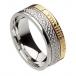 Ogham noeud celtique anneau foi - or blanc et jaune