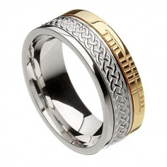 Ogham Celtic Knot Faith Ring - White & Yellow Gold