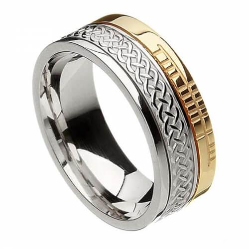 Ogham keltischer Knoten Glauben Ring - Weiß & Gelbgold