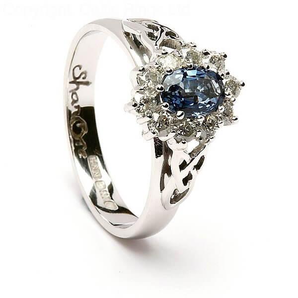 Sapphire Diamond Cluster Engagement Ring | Celtic Rings Ltd