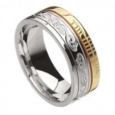 Ogham Le Chéile Faith Ring - White & Yellow Gold