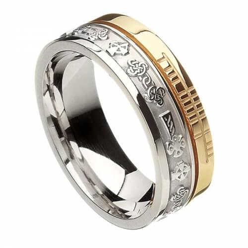 Ogham Celtic Cross Faith Ring - White & Yellow Gold