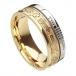 Ogham keltisches Kreuz Glauben Ring - Weiß und Gelbgold