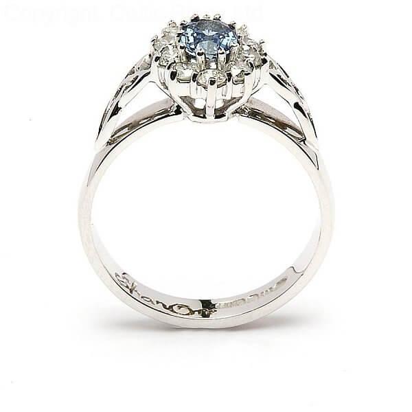 Famous Sapphire Diamond Cluster Engagement Ring | Celtic Rings Ltd BS92