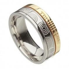 Ogham Newgrange Faith Ring - White & Yellow Gold