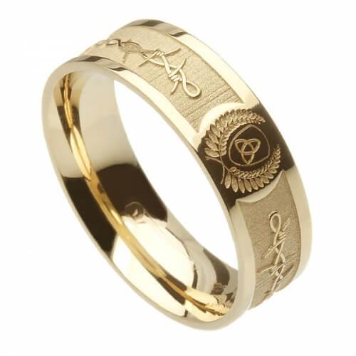 Herren Stacheldraht Ehering - Gelbes Gold