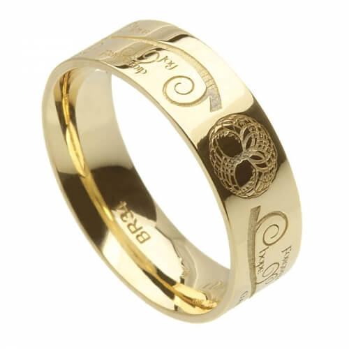 Herren Baum des Lebens Ehering - Gelbes Gold