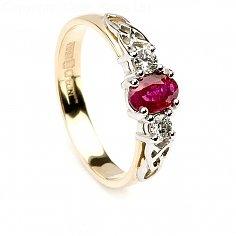 Bague de fiançailles en rubis - or jaune