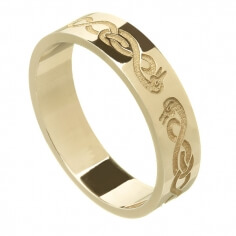 Women's Celtic Swan Wedding Ring - Yellow Gold