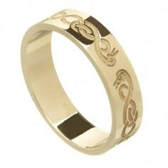 Celtique des femmes anneau de mariage de cygne - or jaune