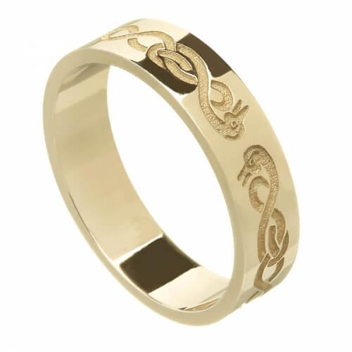 Damen-keltische Schwan Ehering - Gelbgold