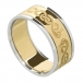 Men's Celtic Swan Ring with Trim - Yellow with White Gold Trim