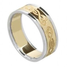 Damen keltischer Schwan Ring mit trim - gelb mit weißem Gold trim
