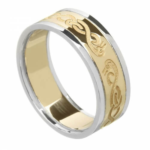 Women's Celtic Swan Ring with Trim - Yellow with White Gold Trim