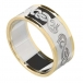 Herren Keltischer Schwan Ring mit trim - Silber oder Weißgold mit Gelbgoldverzierung