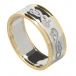 Women's Celtic Swan Ring with Trim - Silver or White Gold with Yellow Gold Trim