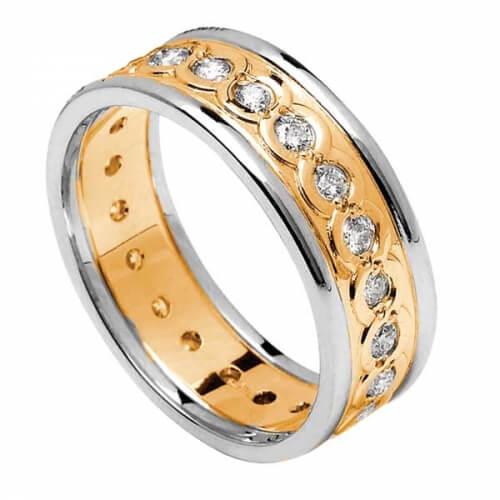 Women's Eternity Diamond Ring with Trim - Yellow with White Trim