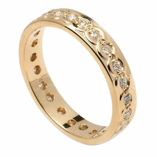 Damen Ewigkeit Diamant Ehering - Gelbgold