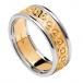 Herren Ewigkeit Knoten Ring mit Trim - gelb mit weißer Trim