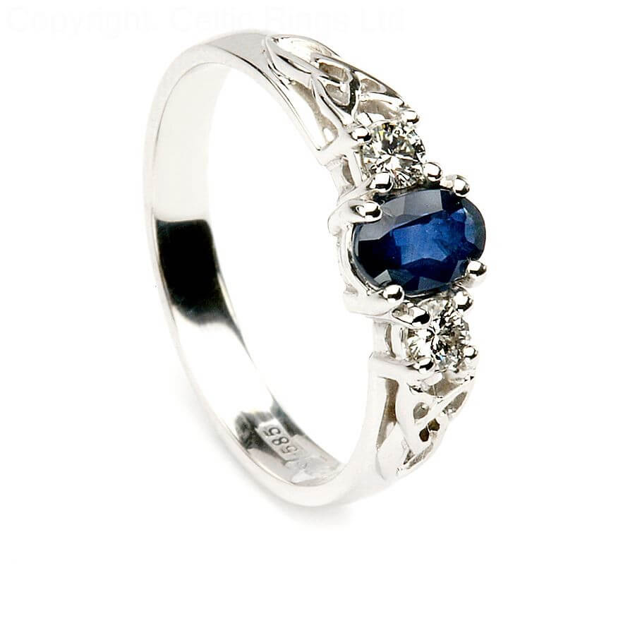channel blue set and engagement product cathedral diamond sapphire ring
