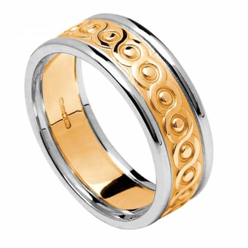 Damen Ewigkeit Knoten Ring mit Trim - gelb mit weißer Trim