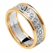 Women's Eternity Knot Ring with Trim - White with Yellow Trim