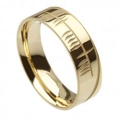 Men's Irish Ogham Wedding Ring - Yellow Gold