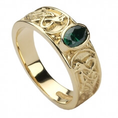 Womens Celtic Knot RIng with CZ - Gold