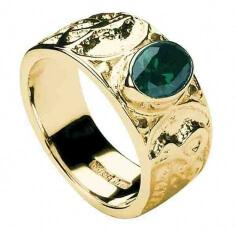 Herren Keltischer Knoten Ring mit CZ - Gold
