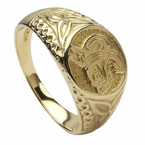 Keltischer Löwenring - Gelbgold