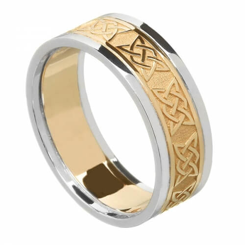 Women's Celtic Lover's Knot Band with Trim - Yellow with White Trim