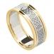 Damen keltischem Liebesknoten Ring mit trim - Weiß mit Gelb Trim