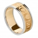 Men's Gaelic Wedding Band with Trim - Yellow with White Trim