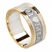 Men's Gaelic Wedding Band with Trim - White with Yellow Trim