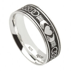 Mens Silver Irish Claddagh Ring
