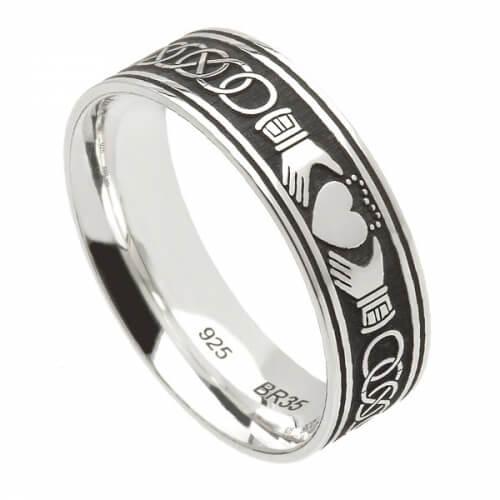 Mens Silver Irish Claddagh Ring