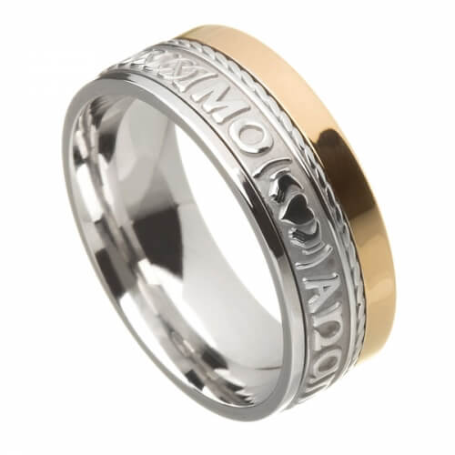 Unisex Soulmate Wedding Ring - White & Yellow Gold