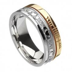 Ogham Claddagh Faith Ring - White & Yellow Gold