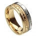Ogham anneau de Claddagh foi - or jaune et blanc