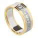 Damen Claddagh Ring Seelenfreund mit Trim - weiß mit gelben trim