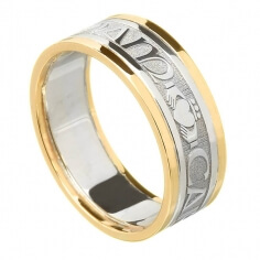 Women's Claddagh Soulmate Ring with Trim - White with Yellow Trim