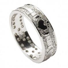 Diamant bague de mariage incrustée Claddagh - Or blanc 18 carats