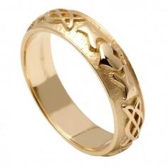 Bague Claddagh gaufrée mariage pour femme - Or jaune