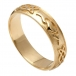 Men's Embossed Claddagh Wedding Ring - Yellow Gold