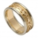 Femmes anneau de mariage Claddagh en relief avec garniture en or blanc