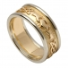 Men's Embossed Claddagh Wedding Band with White Gold Trim