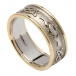 Women's Embossed Claddagh Wedding Band with Yellow Gold Trim