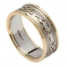 Men's Embossed Claddagh Wedding Band with Yellow Gold Trim